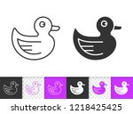 rubber duck black linear and... | Shutterstock .eps vector #1218425425