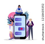 girls chatting on cellphone ... | Shutterstock .eps vector #1218435352