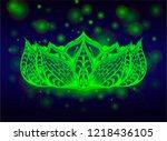 acid lotus flower on the black...   Shutterstock .eps vector #1218436105