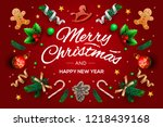 christmas greeting card with... | Shutterstock .eps vector #1218439168