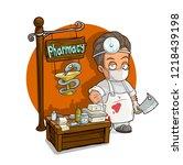 cartoon evil doctor in mask... | Shutterstock .eps vector #1218439198
