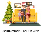 big happy smiling family... | Shutterstock .eps vector #1218452845