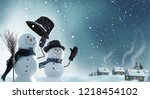 merry christmas and happy new... | Shutterstock . vector #1218454102
