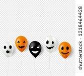 halloween scary balloons  | Shutterstock . vector #1218464428