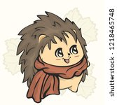 cute hedgehog with warm scarf... | Shutterstock .eps vector #1218465748