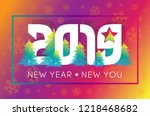 happy new year 2019 with... | Shutterstock .eps vector #1218468682