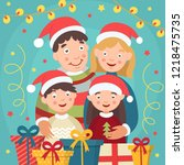 christmas family. mom dad with...   Shutterstock .eps vector #1218475735