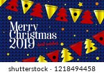 festive background 2019  merry... | Shutterstock .eps vector #1218494458