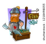 cartoon bearded redhead cook... | Shutterstock .eps vector #1218498055