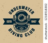 underwater diving club vector... | Shutterstock .eps vector #1218518302