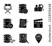 film industry glyph icons set.... | Shutterstock .eps vector #1218530638