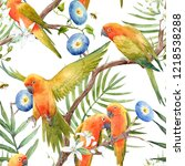 watercolor tropical pattern... | Shutterstock . vector #1218538288