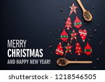 christmas tree made from red... | Shutterstock . vector #1218546505