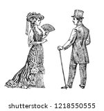 antique ladie and man.... | Shutterstock .eps vector #1218550555