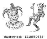 funny jester in fool's cap.... | Shutterstock .eps vector #1218550558