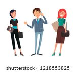 businessman talking on phone ... | Shutterstock .eps vector #1218553825