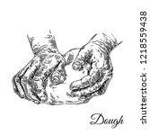 hands knead the dough. sketch....   Shutterstock .eps vector #1218559438