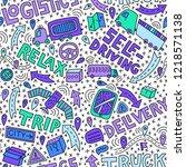self driving truck doodle... | Shutterstock .eps vector #1218571138