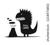 funny dinosaur  black... | Shutterstock .eps vector #1218576802