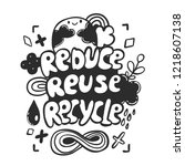 reduce reuse recycle cartoon... | Shutterstock .eps vector #1218607138