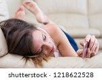 pretty young brunette girl... | Shutterstock . vector #1218622528