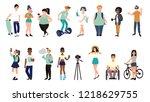 cartoo flat multiracial teens.... | Shutterstock .eps vector #1218629755