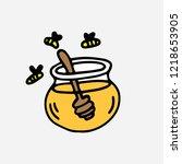 doodle jar of honey with dipper ...   Shutterstock .eps vector #1218653905