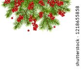 christmas decoration with fir... | Shutterstock .eps vector #1218655858