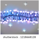 realistic neon or led glowing... | Shutterstock .eps vector #1218668128