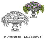 rose bush with flowers growing... | Shutterstock .eps vector #1218680935