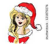 beautiful blonde girl dressed...   Shutterstock .eps vector #121870276