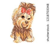 dog yorkshire terrier drawn by... | Shutterstock .eps vector #1218703348