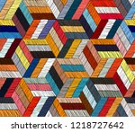 embroidered seamless geometric... | Shutterstock .eps vector #1218727642