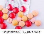 tablets pills capsule heap mix... | Shutterstock . vector #1218757615