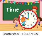 children learning time... | Shutterstock .eps vector #1218771022