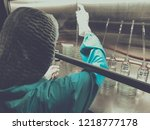 blurred of scientist doing the... | Shutterstock . vector #1218777178