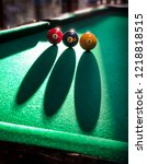 billiards balls on a pool table ... | Shutterstock . vector #1218818515