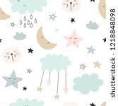 seamless cute pattern for kids  ... | Shutterstock .eps vector #1218848098