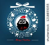 santal claus in chistmas wreath ... | Shutterstock .eps vector #1218855055