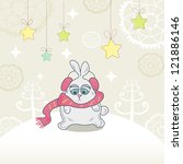 christmas card with a cute... | Shutterstock . vector #121886146