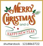 hand drawn merry christmas and... | Shutterstock .eps vector #1218863722