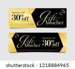 Gift Voucher card for in gold and black geometric shape theme. 30% off discount vector illustration