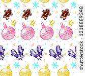 christmas hand drawn pattern...   Shutterstock .eps vector #1218889348