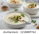 cauliflower potato soup puree... | Shutterstock . vector #1218889762