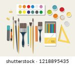 hobby. painting  drawing... | Shutterstock .eps vector #1218895435
