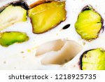 turkish sweets soft nougat with ... | Shutterstock . vector #1218925735