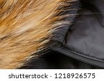 fur and zipper on the black... | Shutterstock . vector #1218926575
