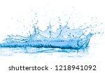 splashing blue water on white... | Shutterstock . vector #1218941092