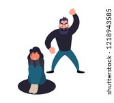 abused woman. abuser man shouts ... | Shutterstock . vector #1218943585