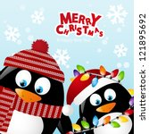 Merry Christmas Card With Two...
